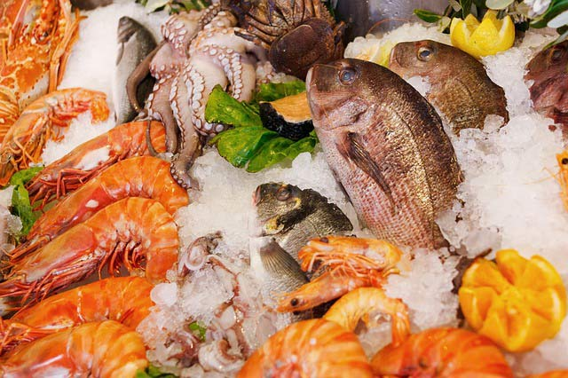 mixed seafood display on ice